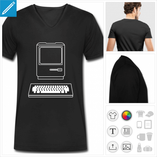 t-shirt noir ordinateur vintage personnalisable, impression à l'unité