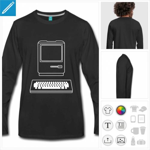 t-shirt manches longues informatique personnalisable