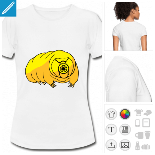 t-shirt blanc simple tardigrade personnalisable