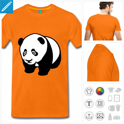 T-shirt panda à personnaliser, panda kawaii à quatre pattes à imprimer enligne.