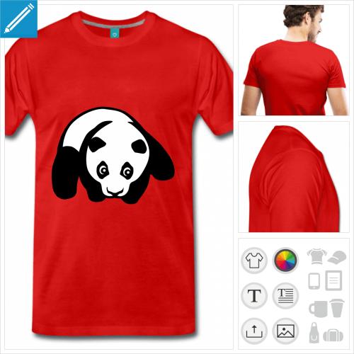 T-shirt panda, petit panda à plat ventre à personnaliser et imprimer en ligne.