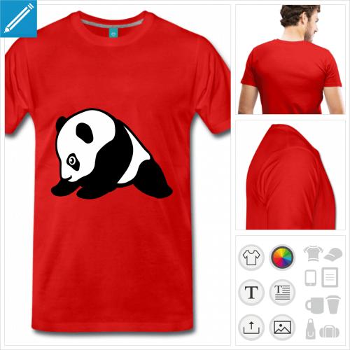 T-shirt panda kawaii dessiné de profil, à personnaliser et imprimer en ligne.