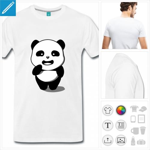 t-shirt homme panda à créer en ligne