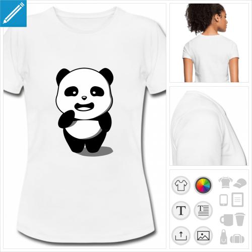 t-shirt femme panda personnalisable, impression à l'unité