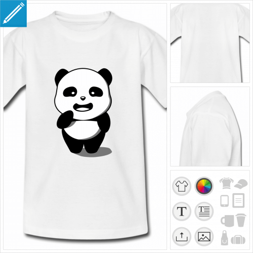 t-shirt enfant panda kawaii à personnaliser en ligne