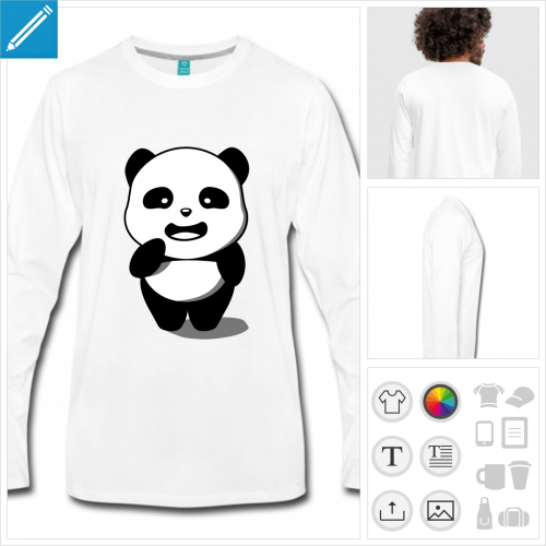 t-shirt panda kawaii à personnaliser, impression unique