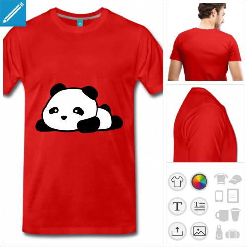 t-shirt rouge panda kawaii rigolo à créer soi-même