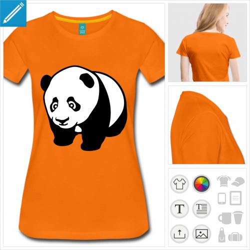 t-shirt femme panda kawaii à personnaliser, impression unique
