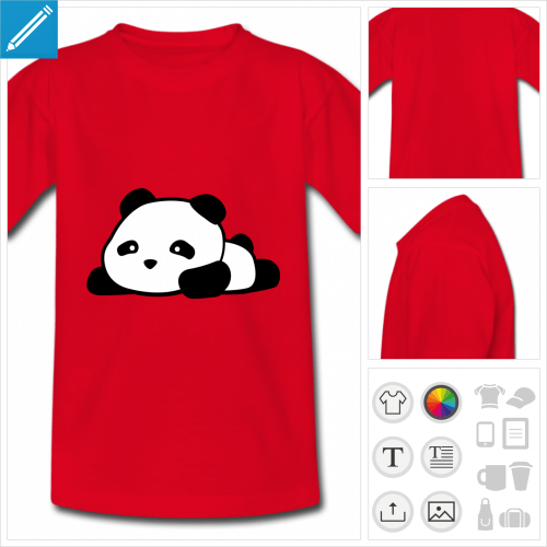t-shirt basique panda kawaii rigolo à personnaliser, impression unique