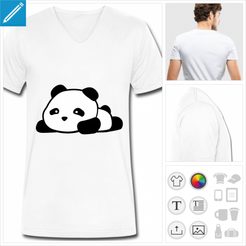 t-shirt simple panda à personnaliser