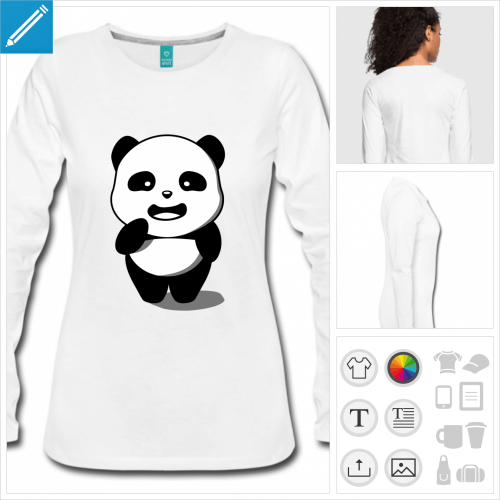 t-shirt manches longues panda personnalisable, impression à l'unité