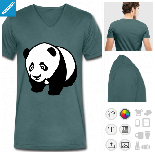 t-shirt col v panda mignon à personnaliser