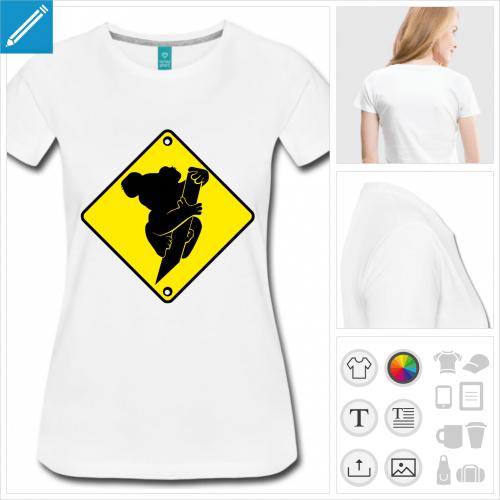 t-shirt femme panneau koala à personnaliser et imprimer en ligne