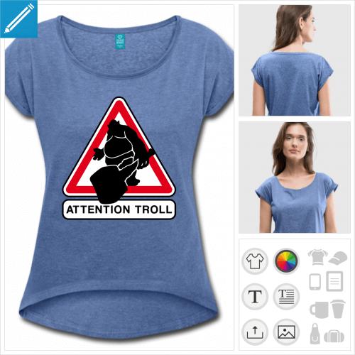 t-shirt panneau troll à créer en ligne