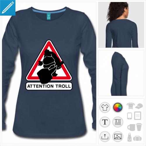 t-shirt femme panneau troll personnalisable