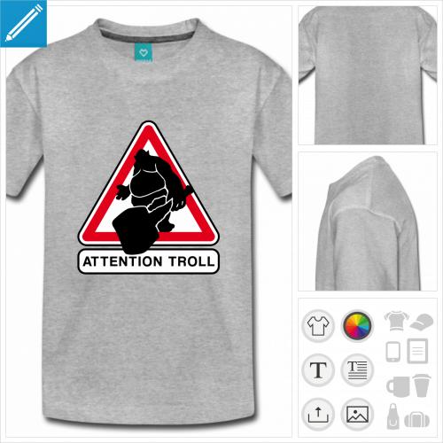 t-shirt manches courtes troller personnalisable