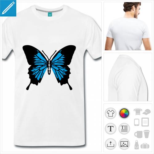 T-shirt papillon simple à personnaliser, choisissez vos couleurs.