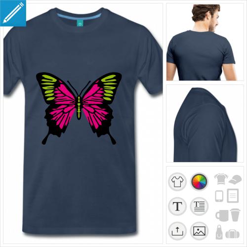 T-shirt papillon coloré aux couleurs personnalisables, à imprimer en ligne.