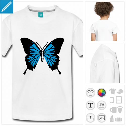 t-shirt enfant manches courtes ailes de papillon à personnaliser et imprimer en ligne