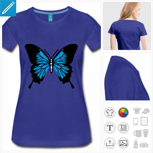 tee-shirt bleu roi papillon personnalisable, impression à l'unité
