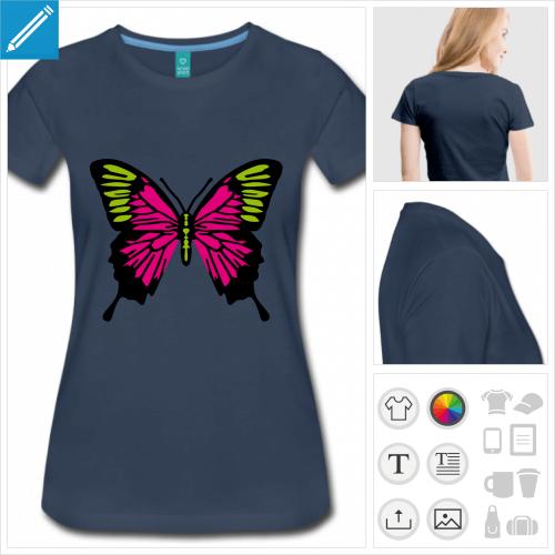 t-shirt manches courtes ailes de papillon à personnaliser en ligne