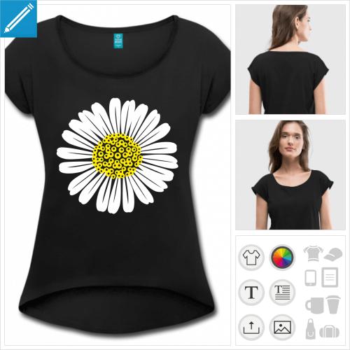 t-shirt cropped fleurs personnalisable