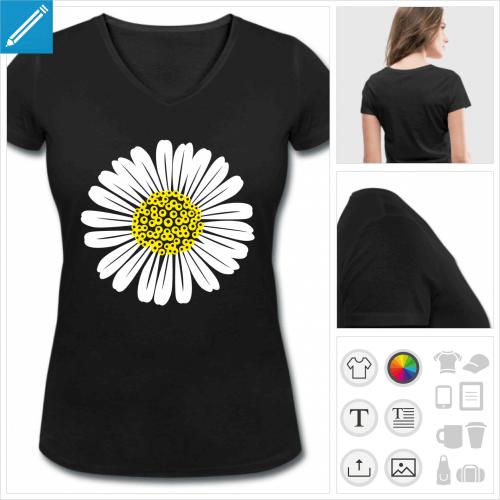 t-shirt fleurs à imprimer en ligne