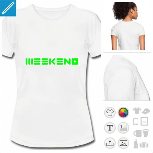 t-shirt blanc simple week-end à créer en ligne