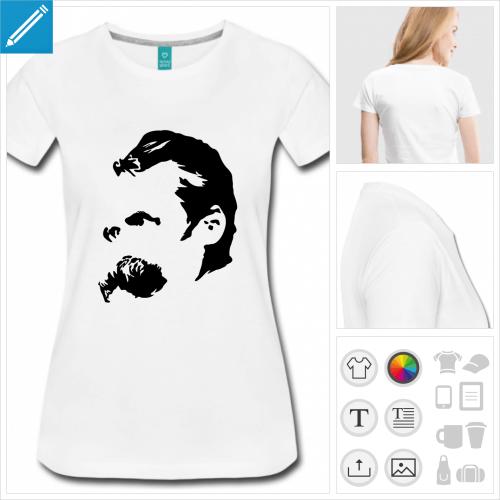 t-shirt orange Friedrich Nietzsche à créer soi-même