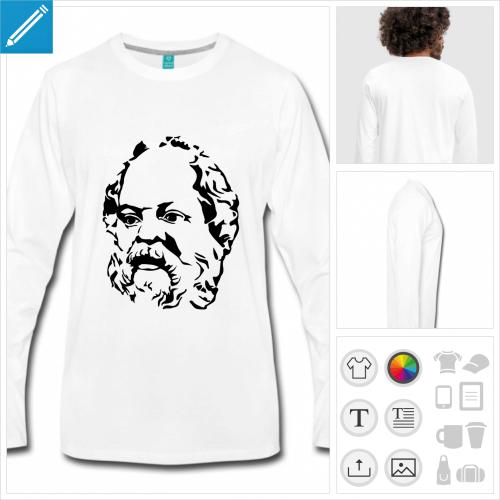 t-shirt gris Philosophie à personnaliser en ligne