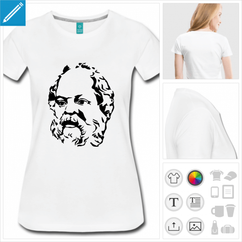 t-shirt manches courtes Philosophe personnalisable, impression à l'unité