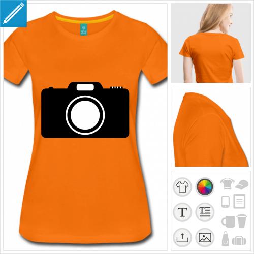 t-shirt femme manches courtes photo à personnaliser, impression unique
