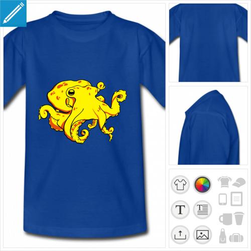 t-shirt bleu pieuvre à personnaliser, impression unique