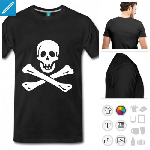 T-shirt pirate classique, emblème jolly roger blanc à personnaliser.