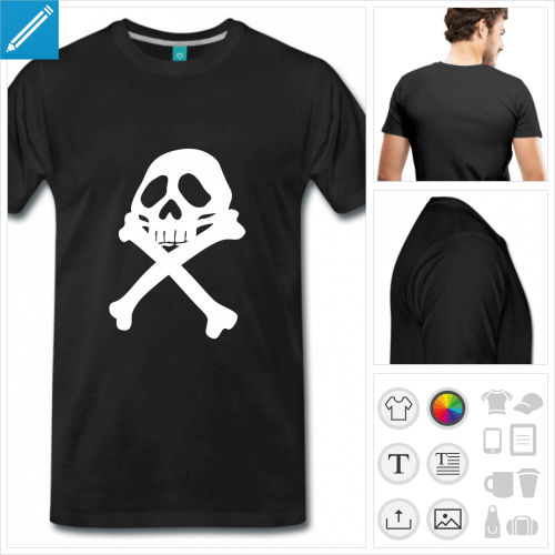 T-shirt pirate, drapeau pirate d'Albator à personnaliser