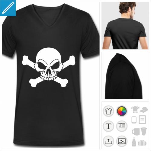 t-shirt pour homme crâne personnalisable