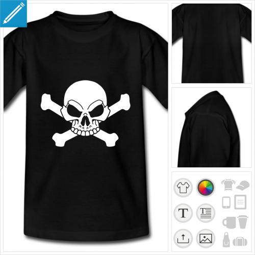 t-shirt noir ado crâne à personnaliser en ligne