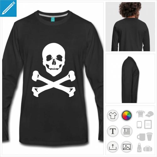 t-shirt manches longues pirate os croisés personnalisable