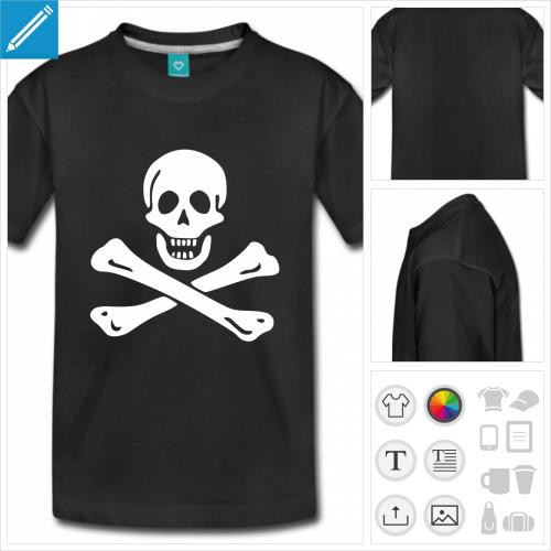 t-shirt manches courtes tête de mort à personnaliser