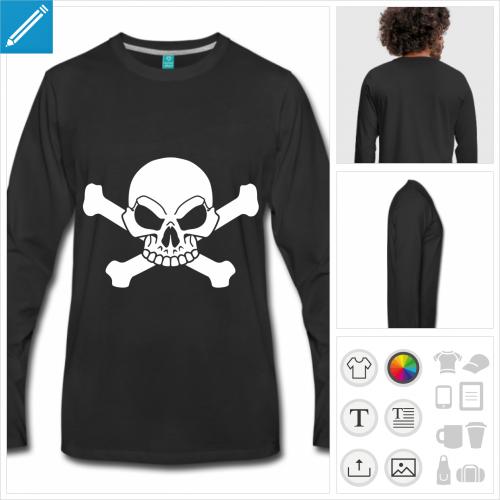t-shirt noir drapeau pirate personnalisable, impression à l'unité