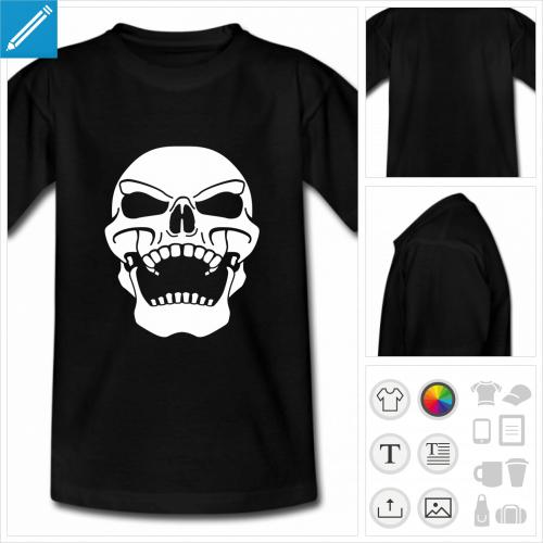 t-shirt adolescent tête de mort à personnaliser