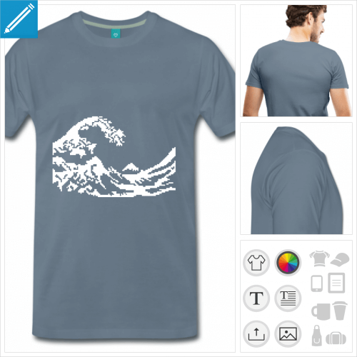 T-shirt pixel art, vague d'Hokusai en pixels blancs simplifiés.