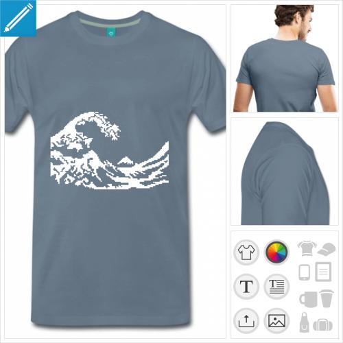 t-shirt marine vague pixel à personnaliser en ligne