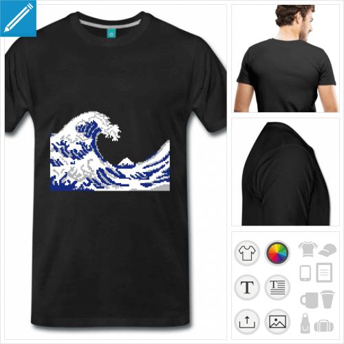 t-shirt marine hokusai geek à personnaliser
