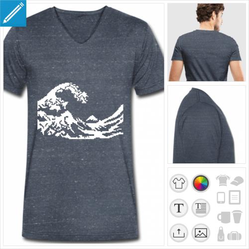 t-shirt homme hokusai pixel personnalisable