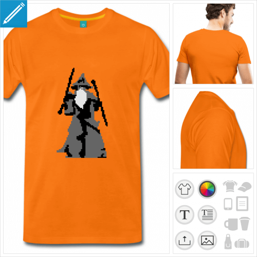 T-shirt pixel, Gandalf dessiné en pixel art, aux couleurs personnalisables.