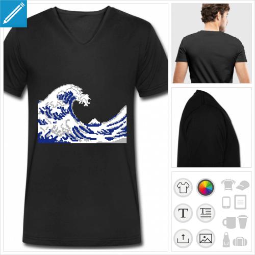 T-shirt pixel, vague d'Hokusai en pixel art 3 couleurs à personnaliser en ligne.