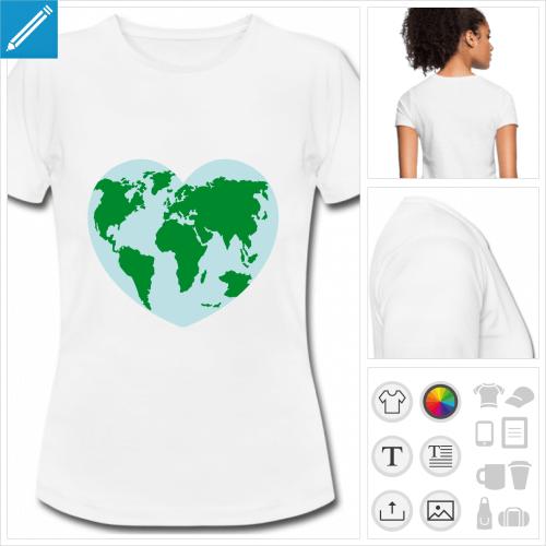 T-shirt planète Terre en forme de cœur, motif écologie à imprimer en ligne.