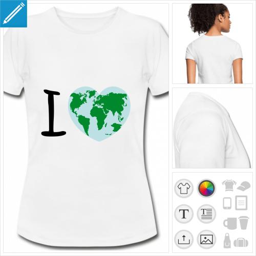 t-shirt basique planète à personnaliser, impression unique