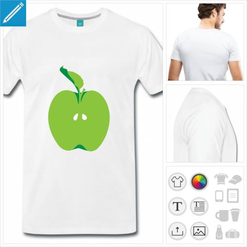 T-shirt pomme, pomme coupée à la moitié aux pépins apparents, à personnaliser en ligne.